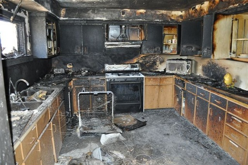 Kitchen Totally Destroyed by Fire