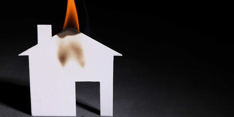 fictional representation of a house that suffered fire and smoke damage